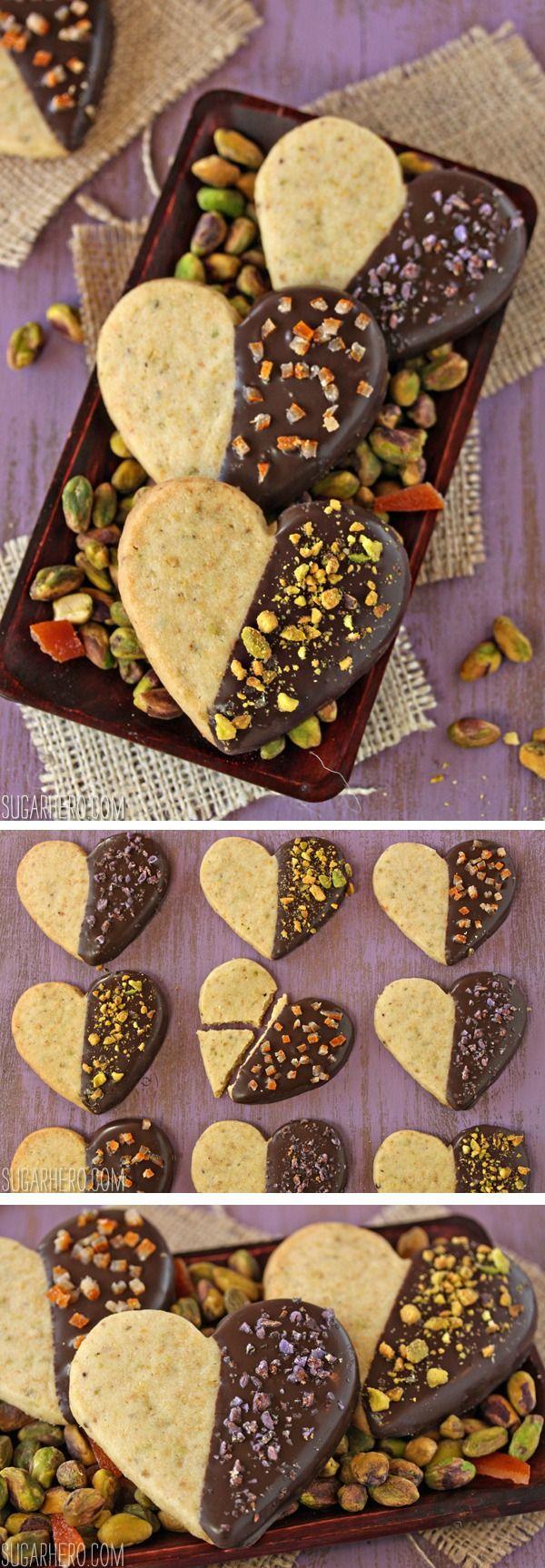 Pistachio Shortbread Cookies, dipped in chocolate! | From SugarHero.com
