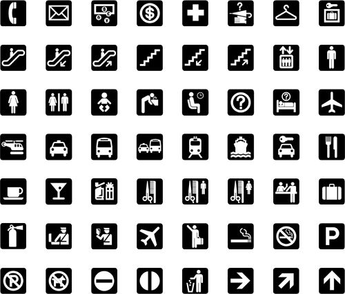 AIGA Icons    This system of 50 symbol signs was designed for use at the crossroads of modern life: in airports and other transportation hubs and at large international events. Produced through a collaboration between AIGA and the U.S. Department of Transportation (DOT), they are an example of how public-minded designers can address a universal communication need.    First set of 34 symbols was published in 1974, and received a Presidential Design Awards; 16 more symbols were added in 1979.