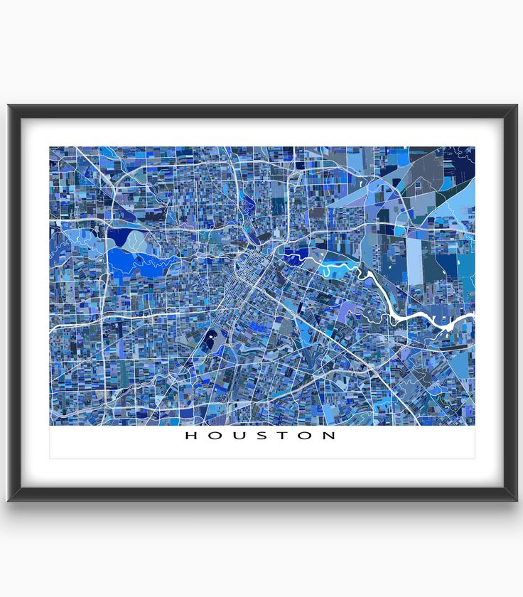 Do you love Houston #Texas? Then this Houston map art print will be great on your wall!  This Houston city map has a modern design made from of lots of little #blue shapes. Each shape is actually a #city block or a piece of land - and these shapes combine like a puzzle or mosaic to form this #Houston #map print. #CityMap #HoustonMap