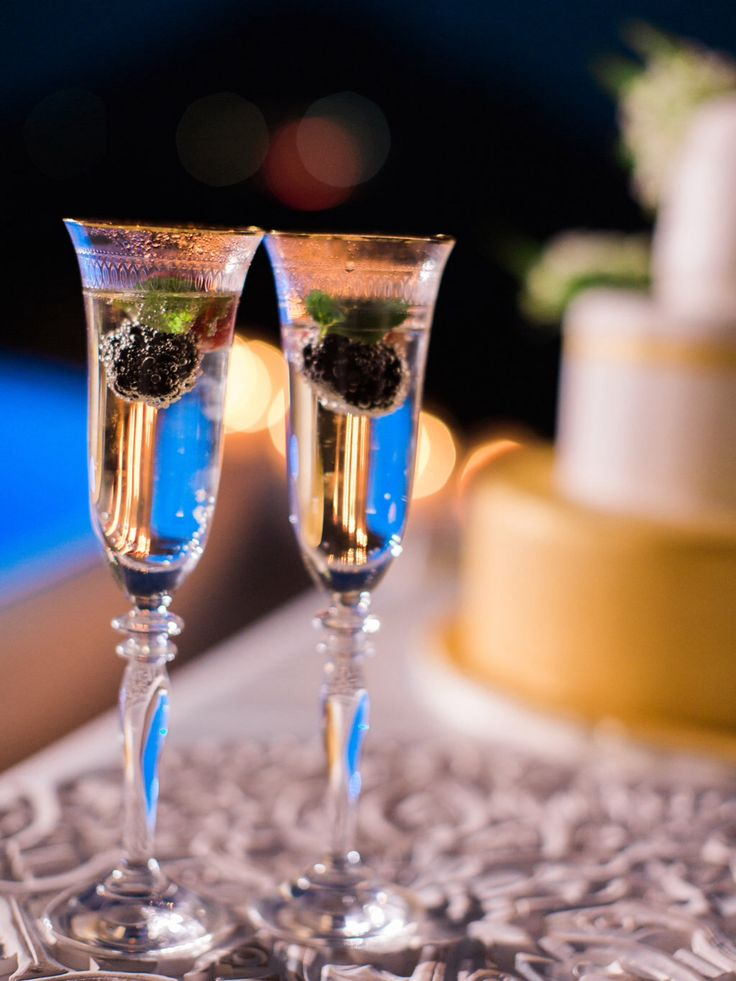 Champagne, wedding cake, gold, pool, private dinner, luxury villa, Santorini, the diamond rock venue