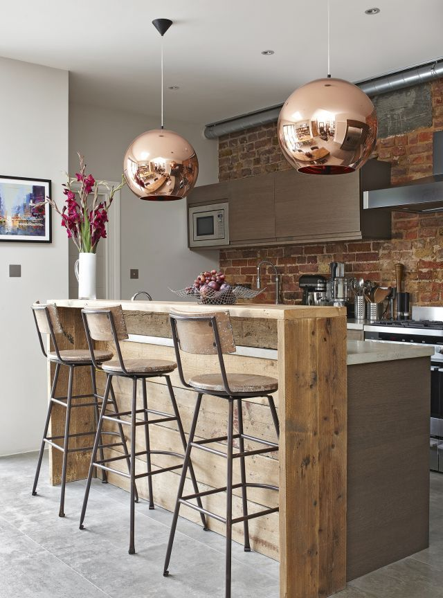 Attractive Smart Industrial Style Breakfast Bar With Copper Touches