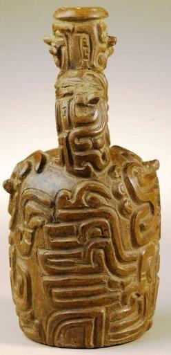 ancient peruvian pottery | Pottery; Pre-Columbian, Chavin, Peru, Vessel, Stirrup-Spout, Brownware ...