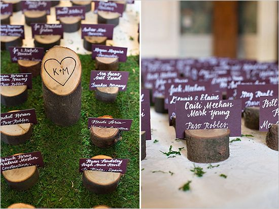 escort card ideas #weddingchicks #purplewedding #rusticwedding http://www.weddingchicks.com/2013/12/18/fall-fantasy-wedding/