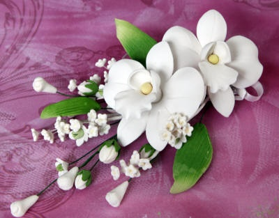 White Gum Paste African Orchid Spray Cake Topper