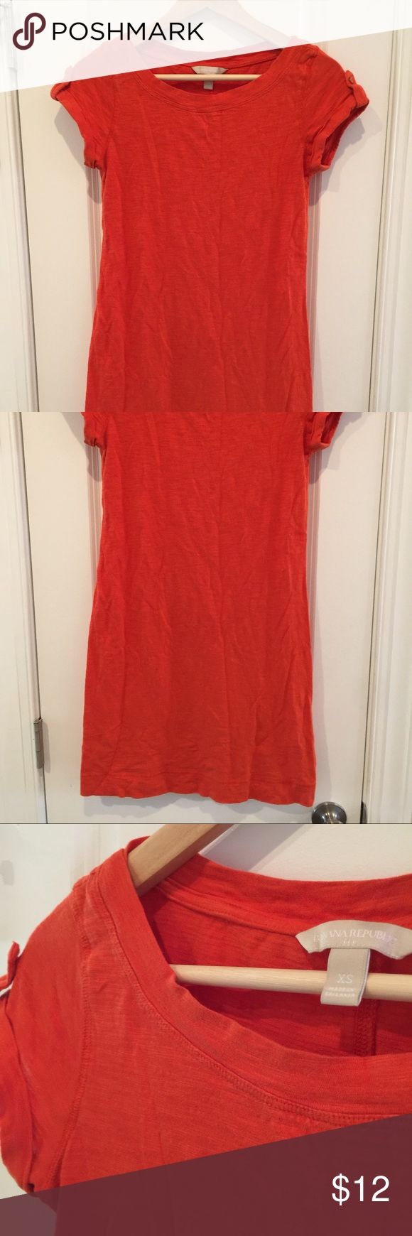 Orange tee shirt dress from BR Soft comfortable orange tee dress. Very flattering. I've worn it with a belt and without. The sleeve are cute and add a nice touch. Banana Republic Dresses Mini