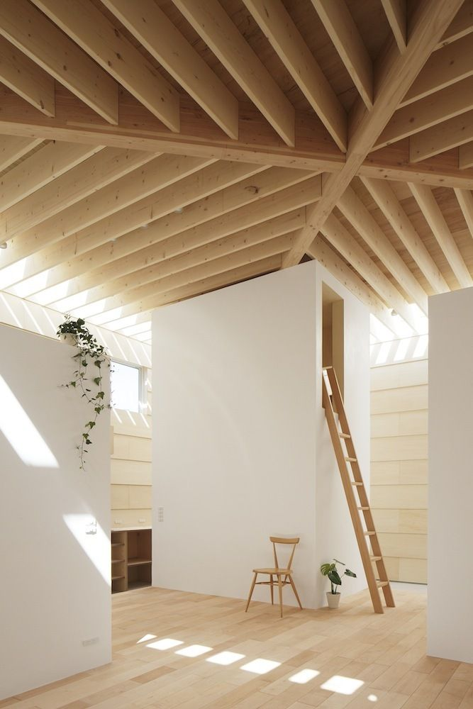 Unique Home Design in White Finished Rectangular Architecture: Smooth Interior With Wooden Ladder On The Wooden Floor Accompanied With Styli...
