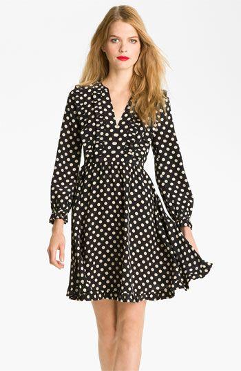 Cute polka dot dress! kate spade new york 'adelle' silk fit &