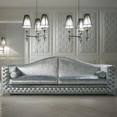 High End Designer Button Upholstered Velvet Sofa