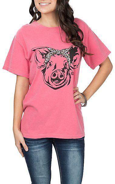 Girlie Girl Originals Women's Pink Leopard Pig S/S T-Shirt | Cavender's