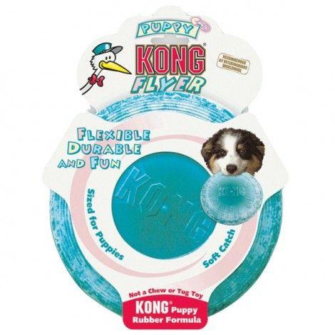 Kong Puppy Flyer  Este frisbee está hecho de la exclusiva goma natural de Kong y es el mejor disco volador para perros de goma flexible.