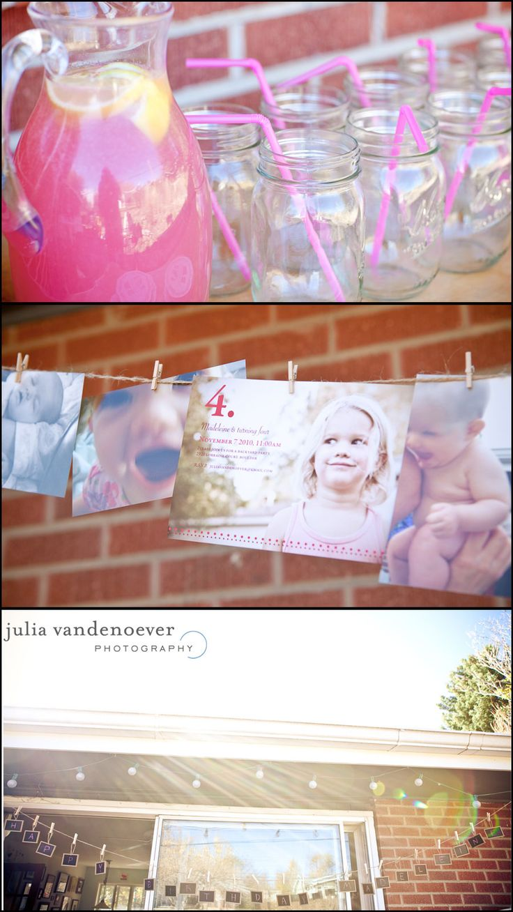 Picture banner with twine & mini clothes pins