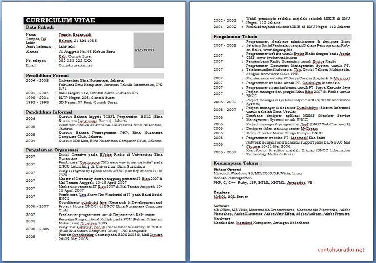 Download Contoh CV Daftar Riwayat Hidup Terlengkap Ms Word