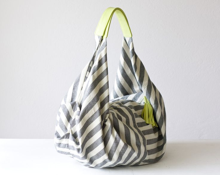 bag grey offwhite and Lime leather