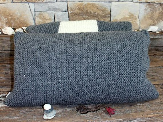 Large Chunky Charcoal Hand Knitted Cushion by MicMacDesign on Etsy