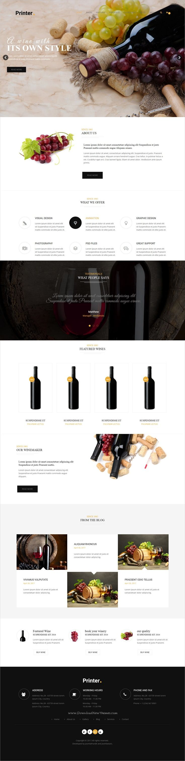 Printer is clean, modern and creative design multipurpose #Joomla template for #winery #liquor #shop stunning website with 50+ niche homepage layouts download now..