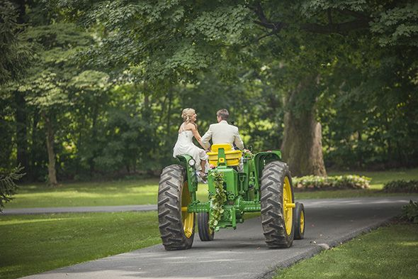tractor wedding | tractor weddings A Colorful Wedding with a Tractor Getaway!