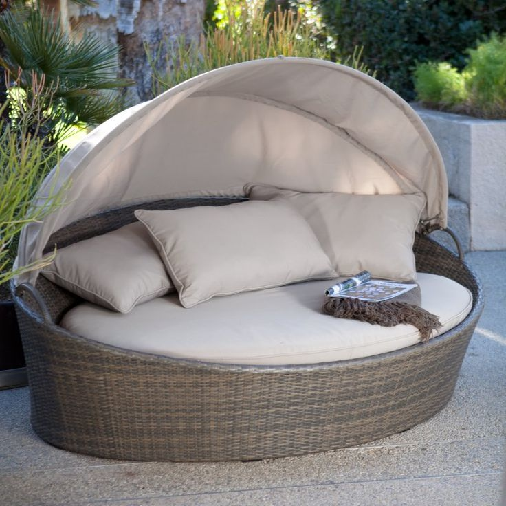Outdoor Creative Living Moorea All-Weather Wicker Cabana Day Bed with Canopy Beige - 10093420
