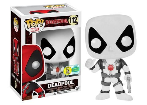 Deadpool Thumbs Up black and white variant Pop figure by Funko, San Diego Comic Con 2016 Funko exclusive