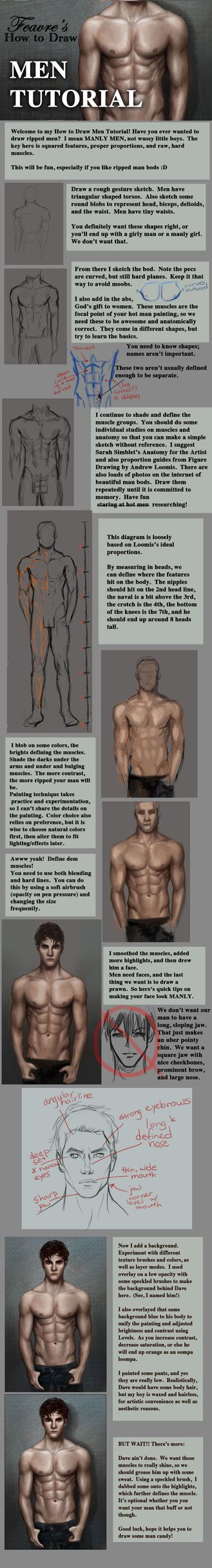 I'm no expert on men (not by a long shot) but their anatomy isn't too tricky. So hopefully this will help people draw some REAL MANLY MENS. Anatomy was studied through anatomy books, photostudies e...