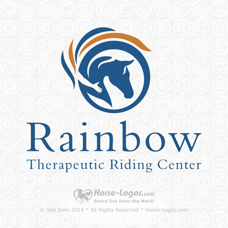 Updated logo design created for Debi Alexander of Rainbow Therapeutic Riding Center. Designed by Joni Solis of Horse-Logos.com #horselogo #logo #design