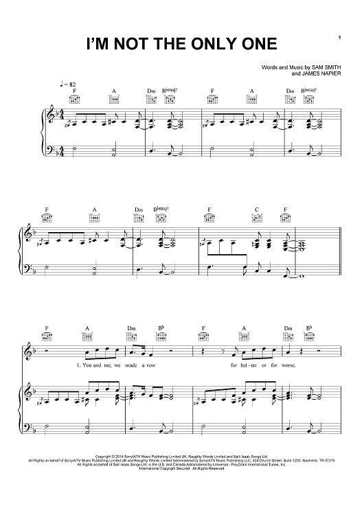I'm Not The Only One Sheet Music by Sam Smith | Sheet ... - photo#20
