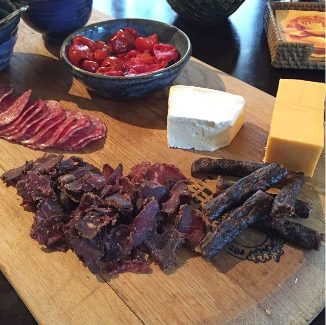 Surprise your dinner party with a Biltong, Doerewors and cheese assortment.