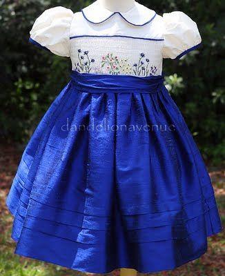 Royal Garden dress by Dandelion Avenue... royal blue dupioni skirt and ivory top