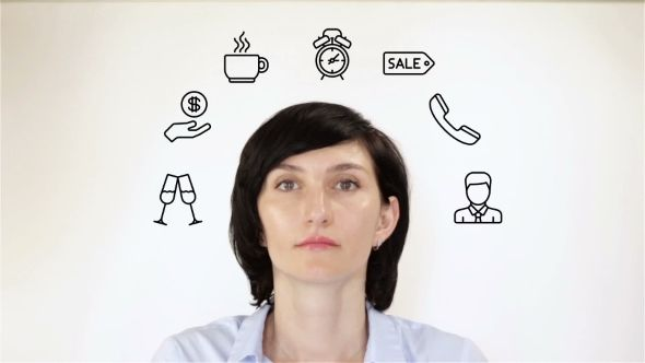 Young Woman Thinking About Productivity On a White Background