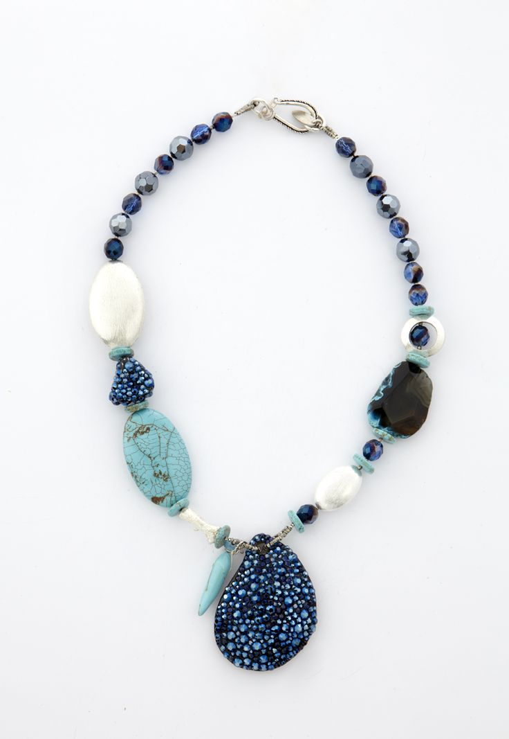 Necklace with turquise stones, Swarovski Elements and Swarovski Beads