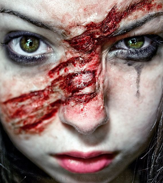 Halloween makeup scratch. Add to the makeup throughout the night to become a werewolf.