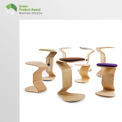 4th place Professionals Green Product Award 2013/14, category furniture: These dynamic stools prevent a rigid sitting position and strengthen the well-being of the person sitting, in a natural way. The concept and design of NEST NATURE is based on eco-friendly and natural materials that can be sorted back into the cycle of nature. All wood used is FSC certified and comes from sustainably managed European forests.