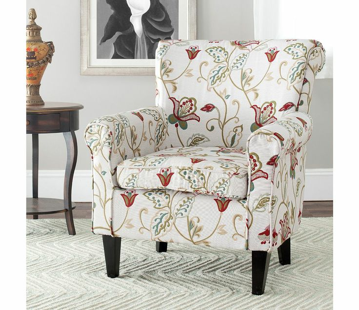 Safavieh Ria White Red Flower Printed Club Chair Rooms