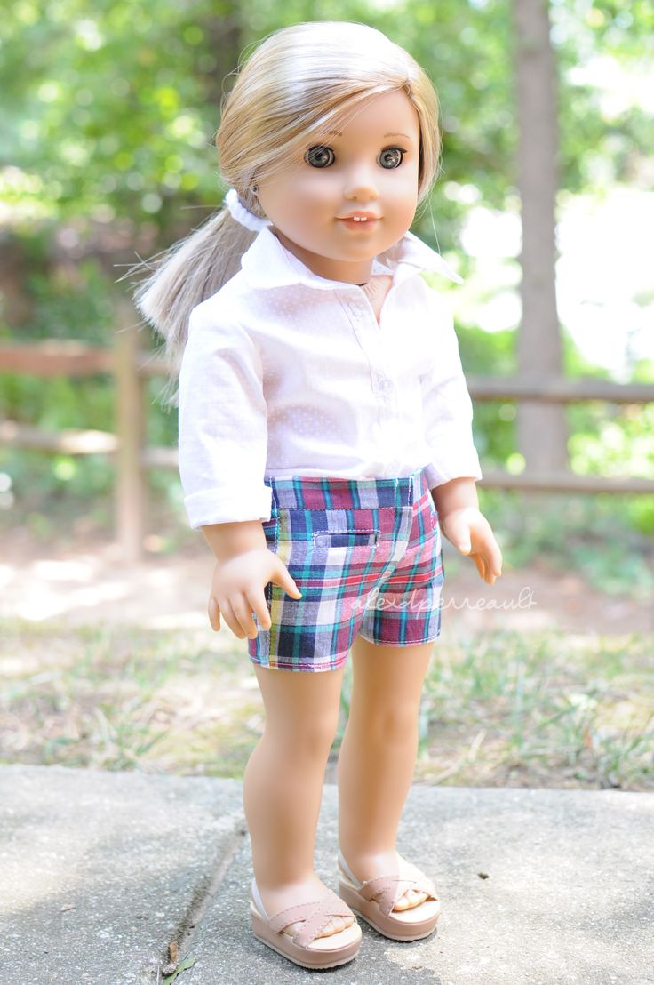 Shirt by Anick's Boutique, shorts by Sparrow and Wren and sandals are AG brand. American Girl