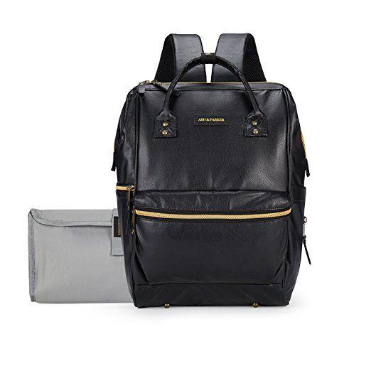 c3ec8cf17694 Amazon.com   Classic Black Leather Baby Diaper Bag Backpack