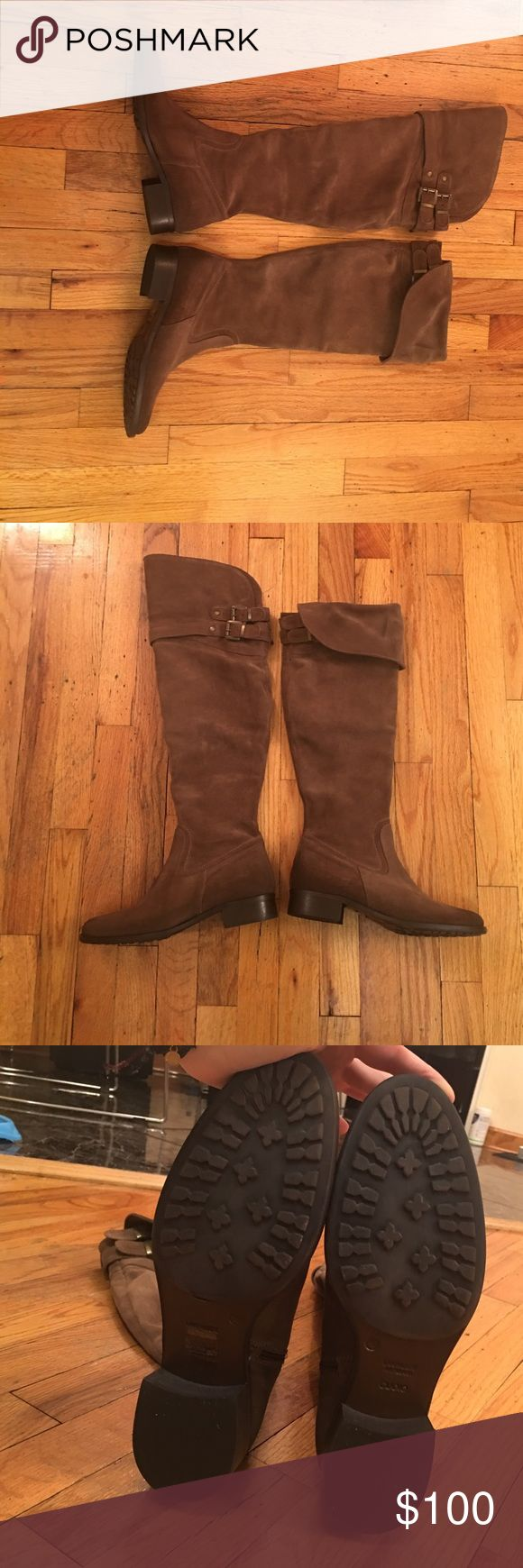 Brown suede over the knee boots. Brown suede boots with buckles and zipper on the side. Never worn. Made in Argentina. CUOIO Shoes Over the Knee Boots