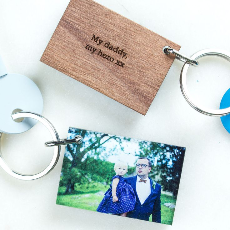Personalised Wood Photo Keyring | Create Gift Love £19  This stunning wood and acrylic photograph keyring is the perfect gift for Father's Day, to celebrate a new baby or Christening gift.  http://www.creategiftlove.co.uk/products/personalised-wood-and-acrylic-photo-keyring-dad  #keyrings #personalised #creategiftlove