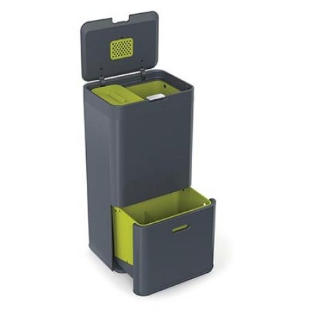 Omg two bins in one. Love the lime green - very android. Howards Storage World | Intelligent Waste Totem Bin- 60 ltr Graphite #howardsstorage #christmaswishlist