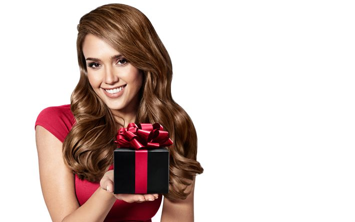 Download wallpapers Jessica Alba, smile, portrait, woman with gift, photoshoot, american actress