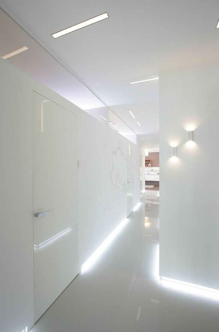 Beautiful White Interior Hallway Design With Simple Minimalist Twins - pictures, photos, images