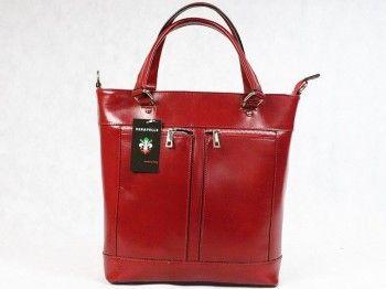 Torebka damska Vera Pelle 5340Włoska torebka wykonana z naturalnej skóry licowej w kolorze bordowym. Mieści format A4. Dopinany pasek na ramię.