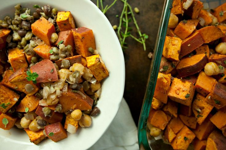 Roasted Fall Sweet Potatoes and Chickpeas with Sprouted Beans