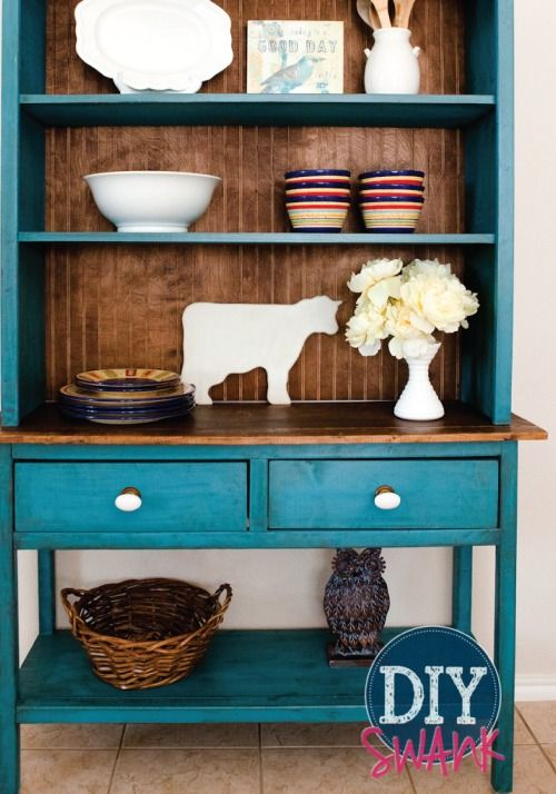 Create a vintage farmhouse vibe with this colorful DIY kitchen hutch.