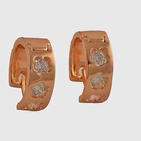 9K Rose gold-filled, clear CZ flower hoop earrings, 16mm x 15mm x 6mm