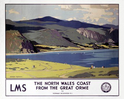 'The North Wales Coast from the Great Orme', LMS poster, 1923-1947., Wilkinson, Norman