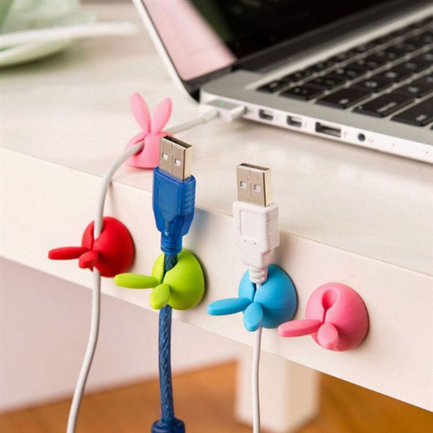 4pc/lot Cute rabbit ear silicone desktop winder cable organizer cable Home office computer headphone bobbin wires holder storage