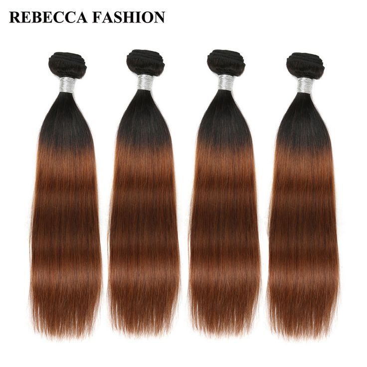 Rebecca Remy Ombre Brown Human Hair Bundles Brazil…