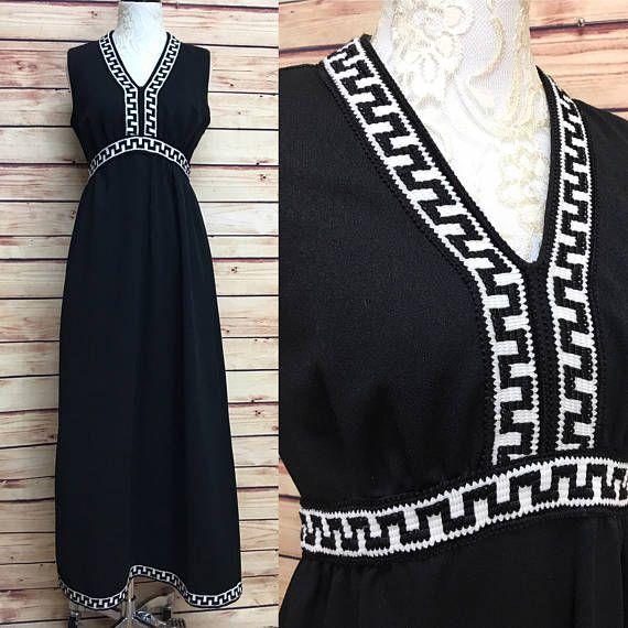 Mod Black 70s Poly Knit Maxi Dress Greek Key Trim