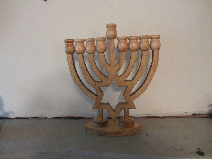 Handmade custom stained Hanukkah Menorah candle holder by tomscraftcastle on Etsy