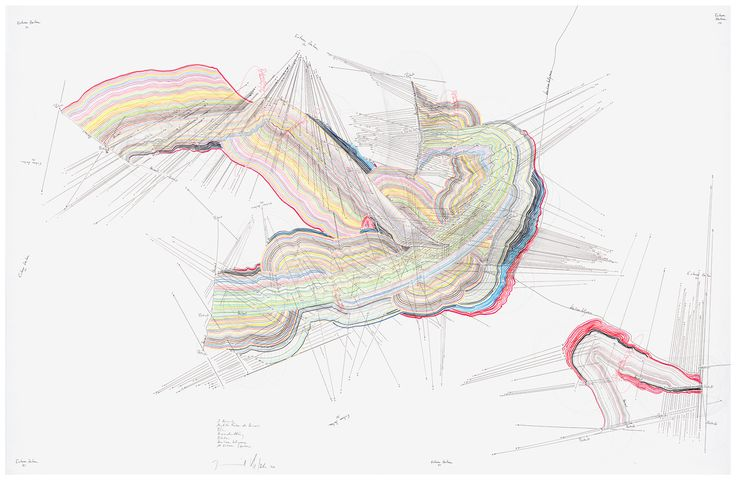 WV 2011-021 3 Horizonte Mögliche Farben des Horizonts; Position; Himmelsrichtung; Rotation; Kontinentalgrenze; 10 Externe Zentren Jorinde Voigt Berlin 2010 88 x 135 cm Tinte, Ölkreide, Bleistift auf Papier Unikat Signiert