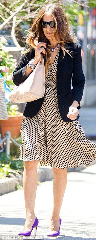Floaty and fabulous: The actress wore a polka dot summer dress with a pair of purple heels...